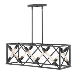 Hewitt- Eight Light Stem Hung Linear Chandelier