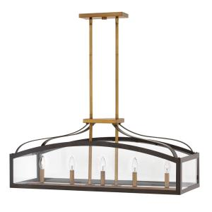 Clarendon - 5 Light Linear Chandelier in Traditional Style - 36 Inches Wide by 15 Inches High