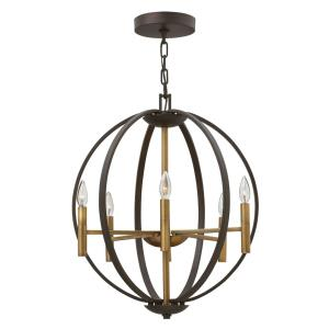 Euclid - 6 Light Medium Orb Chandelier in Transitional, Modern Style - 21.25 Inches Wide by 25.75 Inches High