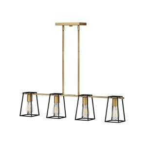 Filmore - Four Light Linear Chandelier in Transitional, Industrial Style - 33.5 Inches Wide by 7.5 Inches High