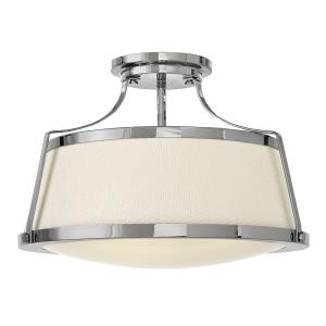 Charlotte - 3 Light Large Semi-Flush Mount in Traditional, Transitional, Coastal Style - 20 Inches Wide by 13.5 Inches High