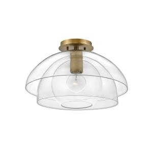 Lotus - 1 Light Medium Semi-Flush Mount in Transitional, Glam Style - 16 Inches Wide by 10.5 Inches High