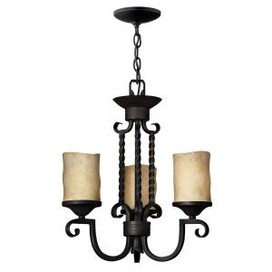Casa - 3 Light Small Chandelier in Rustic Style - 16.75 Inches Wide by 18.5 Inches High