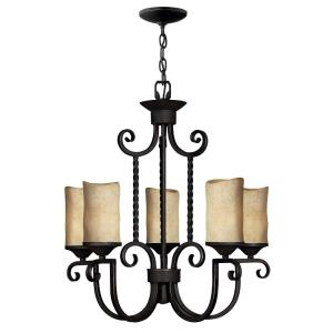 Casa - 5 Light Medium Chandelier in Rustic Style - 25 Inches Wide by 25.5 Inches High