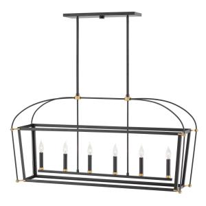 Selby - Six Light Stem Hung Linear Chandelier in Traditional Style - 48 Inches Wide by 24 Inches High