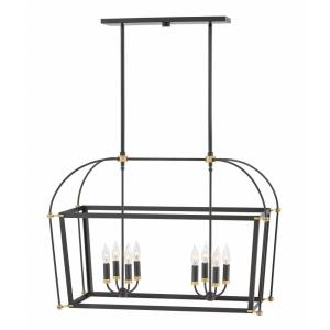 Selby- Eight Light Stem Hung Linear Chandelier