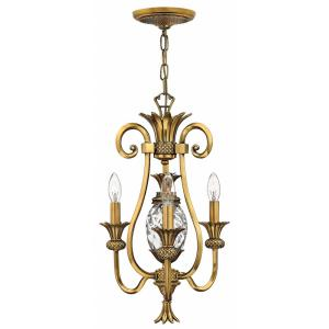 Plantation - 3 Light Small Chandelier in Traditional, Glam Style - 13 Inches Wide by 19 Inches High