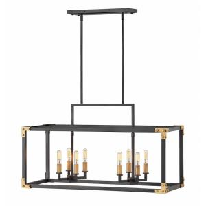 Louis - Eight Light Linear Chandelier in Transitional Style - 34.5 Inches Wide by 19 Inches High