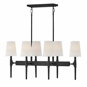 Beaumont - Six Light Linear Oval Pendant in Transitional, Rustic Style - 36 Inches Wide by 16.25 Inches High