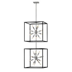 Aros - 24 Light Large Open Frame 2-Tier Chandelier - Transitional, Modern, Mid-Century Modern Style - 20 Inch Wide by 51.5 Inch High