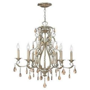 Carlton - 6Lt Chandelier in Traditional, Glam, Bohemian Style - 28 Inches Wide by 28.5 Inches High