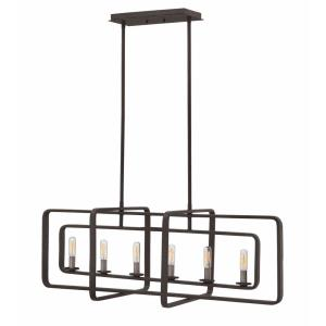 Quentin - Six Light Stem Hung Linear Chandelier