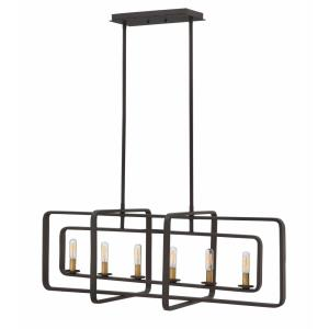Quentin - 6 Light Linear Chandelier in Mid-Century Modern, Industrial Style - 36 Inches Wide by 13 Inches High