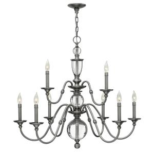 Eleanor - 9 Light Medium 2-Tier Chandelier in Traditional Style - 35.25 Inches Wide by 31.25 Inches High
