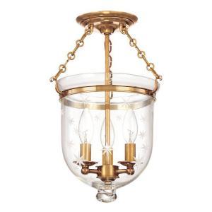 Hampton Collection - Three Light Flush Mount with Star Pattern Glass