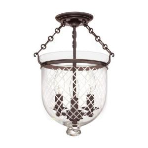 Hampton - Three Light Flush Mount with Argyle Pattern Glass - 10.25 Inches Wide by 14.75 Inches High