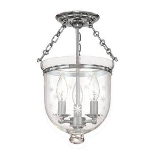 Hampton - Three Light Flush Mount with Star Pattern Glass - 10.25 Inches Wide by 14.75 Inches High