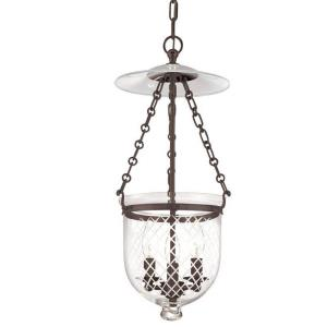 Hampton Collection - Three Light Ceiling Fixture with Argyle Pattern Glass