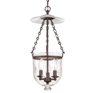 Hampton Collection - Three Light Ceiling Fixture with Star Pattern Glass
