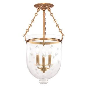 Hampton - Three Light Flush Mount with Star Pattern Glass - 12 Inches Wide by 20.25 Inches High