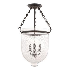 Hampton - Three Light Flush Mount with Argyle Pattern Glass - 12 Inches Wide by 20.25 Inches High