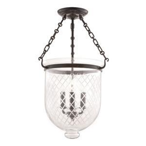 Hampton Collection - Three Light Flush Mount with Argyle Pattern Glass