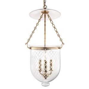 Hampton Collection - Three Light Pendant with Argyle Pattern Glass