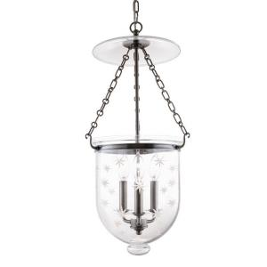 Hampton Collection - Three Light Pendant with Star Pattern Glass