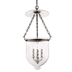 Hampton - Three Light Pendant with Argyle Pattern Glass - 12 Inches Wide by 25 Inches High