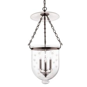 Hampton - Three Light Pendant with Star Pattern Glass - 12 Inches Wide by 25 Inches High