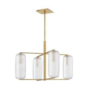 Pebble - Four Light Chandelier in Contemporary Style - 33.5 Inches Wide by 25.5 Inches High