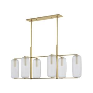 Pebble - Six Light Linear Pendant in Contemporary Style - 19.63 Inches Wide by 22 Inches High