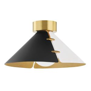 Split - One Light Flush Mount in Modern Style - 15 Inches Wide by 8 Inches High