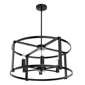 Astwood-Six Light Drum Chandelier in Caged Style-26 Inches Wide by 21 Inches High