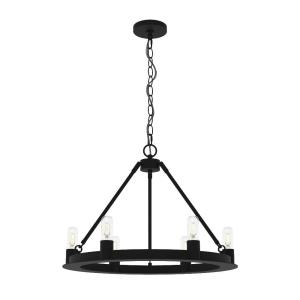 Saddlewood-6 Light Chandelier in Industrial Style-24 Inches Wide by 18 Inches High