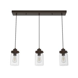 Devon Park-3 Light Cluster Linear Pendant in Casual Style-4.75 Inches Wide by 9 Inches High