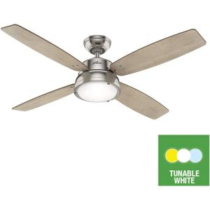 Aker-Outdoor Ceiling Fan with LED Light and Pull Chain in Rustic Style-52 Inches Wide by 14.46 Inches High