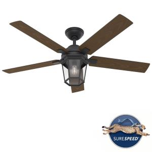 Candle Bay - 52 Inch 5 Blade Ceiling Fan with Light Kit and Handheld Remote