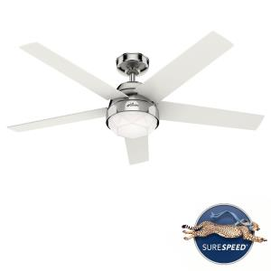 Garland - 52 Inch 5 Blade Ceiling Fan with Light Kit and Wall Control