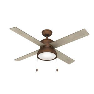 Loki-4 Blade Ceiling Fan with Light Kit and Pull Chain in Casual Style-52 Inches Wide by 16.87 Inches High