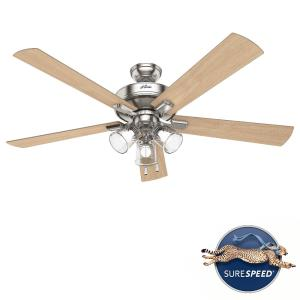 Crestfield-5 Blade Ceiling Fan with Light Kit and Pull Chain in Transitional Style-60 Inches Wide by 18.96 Inches High