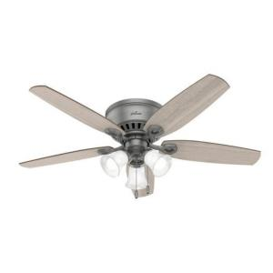 """Builder 52"""" Low Profile Ceiling Fan with LED Light and Pull Chain"""