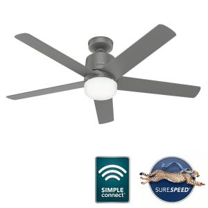 Stylus-5 Blade WiFi Ceiling Fan with Light Kit and Handheld Remote in Modern Style-52 Inches Wide by 16.94 Inches High