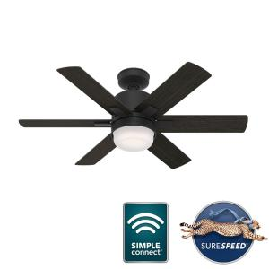 Radeon-6 Blade WiFi Ceiling Fan with Light Kit and Wall Control in Modern Style-44 Inches Wide by 15.75 Inches High