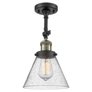 X-Large Cone-1 Light Semi-Flush Mount in Industrial Style-12 Inches Wide by 19 Inches High