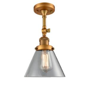 Large Cone-3.5W 1 LED Semi-Flush Mount in Industrial Style-7.75 Inches Wide by 14.5 Inches High