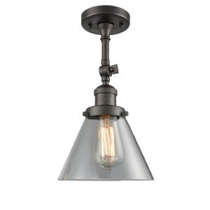 Large Cone-1 Light Semi-Flush Mount in Industrial Style-7.75 Inches Wide by 14.5 Inches High