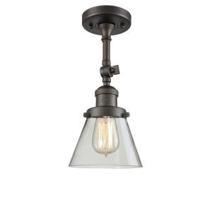 Small Cone-1 Light Semi-Flush Mount in Industrial Style-6.25 Inches Wide by 13.5 Inches High