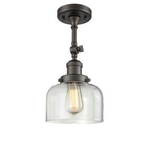 Large Bell-1 Light Semi-Flush Mount in Industrial Style-8 Inches Wide by 13.88 Inches High
