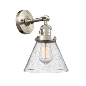 Large Cone-1 Light Wall Sconce in Industrial Style-8 Inches Wide by 10 Inches High